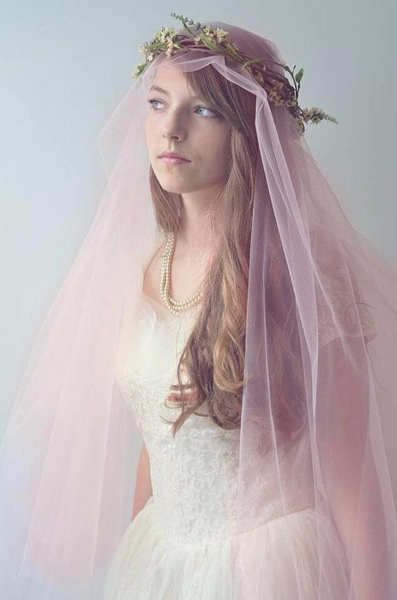 Delicate Floral Crown Wreath With Blush Pink By Rubyandcordelias 100 00 Bridal Headpieces Floral Crown Wedding Pink Wedding Dress