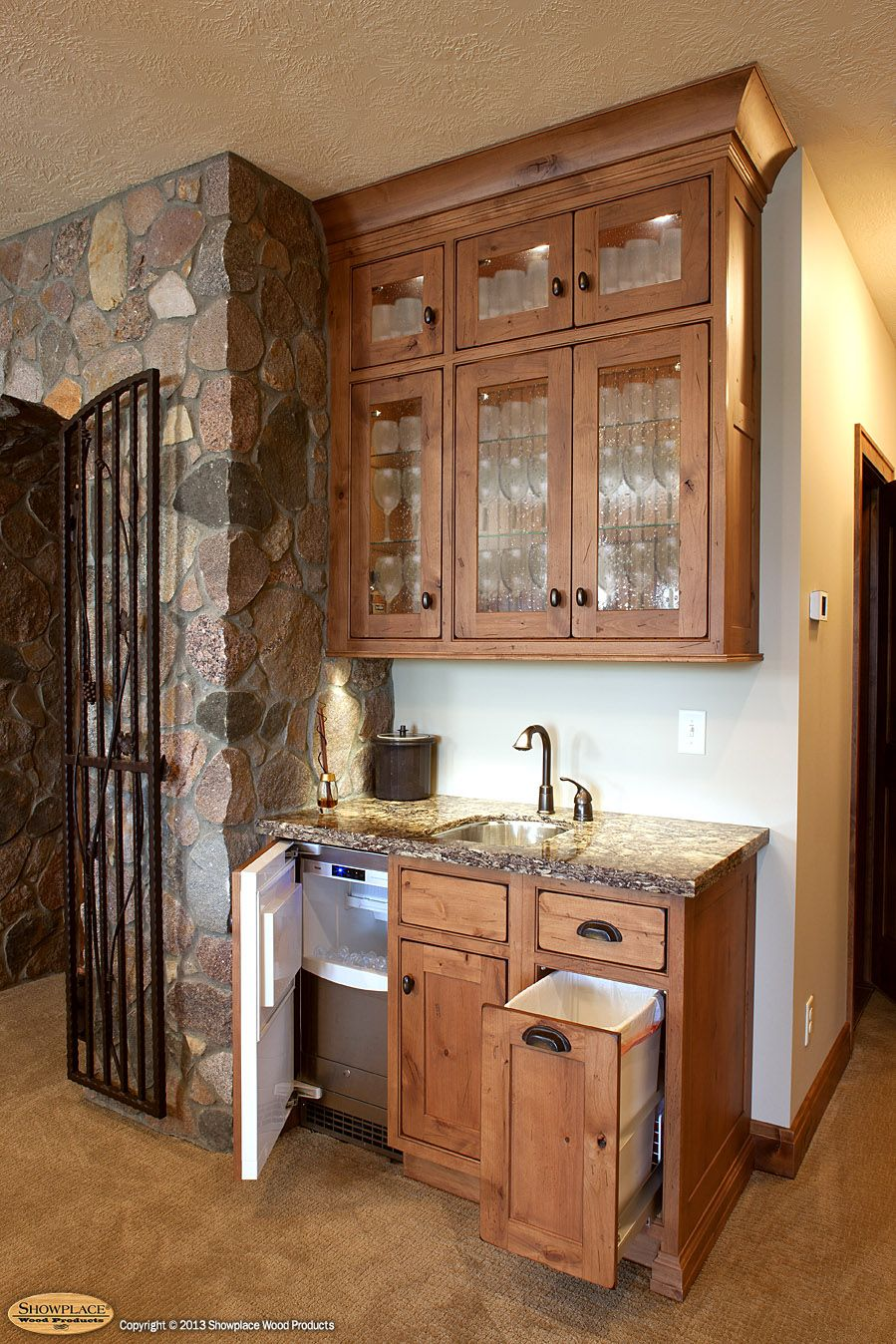 Wet Bar Cabinets Cabinets Showplace Cabinetry Creates A Distinctive Wine Cave And Wet Wet Bar Cabinets Wet Bar Basement Kitchen