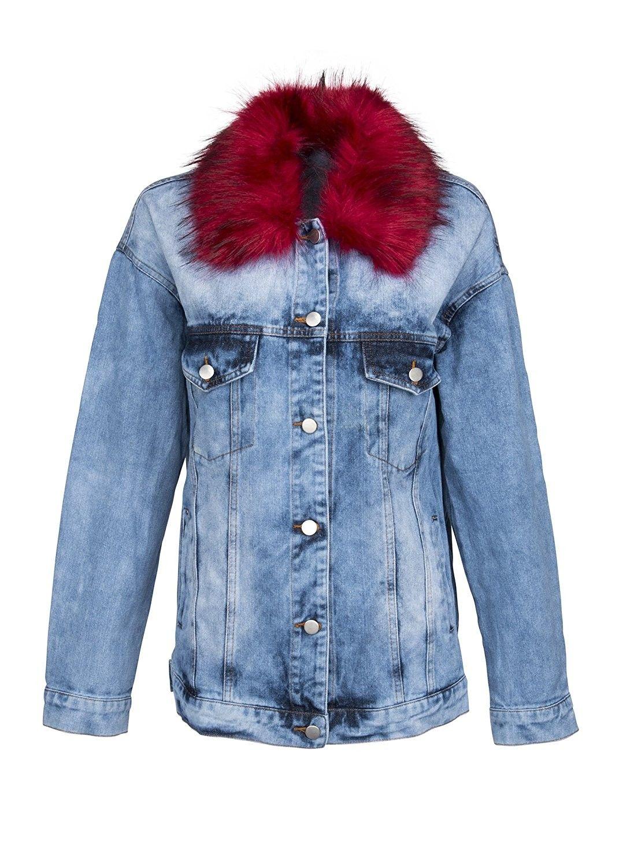 Womens Light Denim Jacket With Detachable Red Faux Fur Collar Ck185yh0q2h Baby Denim Jacket Denim Jacket Women Light Denim Jacket