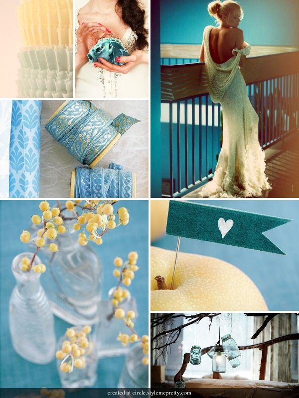 aqua and yellow weddings