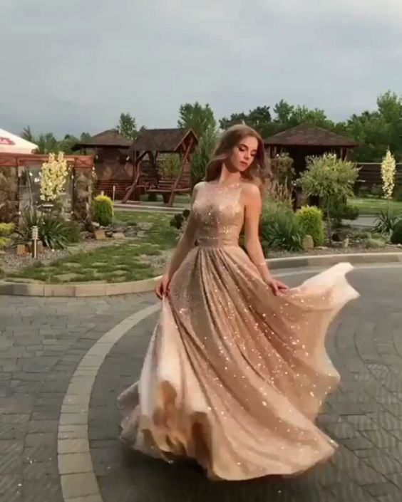 Elegant champagne sequins prom dress v-neck evenin