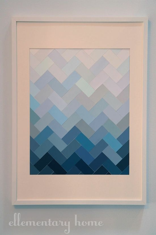 Diy Wall Art Chevron Pattern From Paint Chips Diy Painting Wall Art Diy Easy Diy Artwork