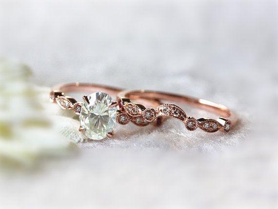 5x7mm Oval Moissanite Ring Diamond Half Eternity Matching Band Diamond Moissanite Wedding Set 14K Rose Gold Ring Bridal Anniversary Ring