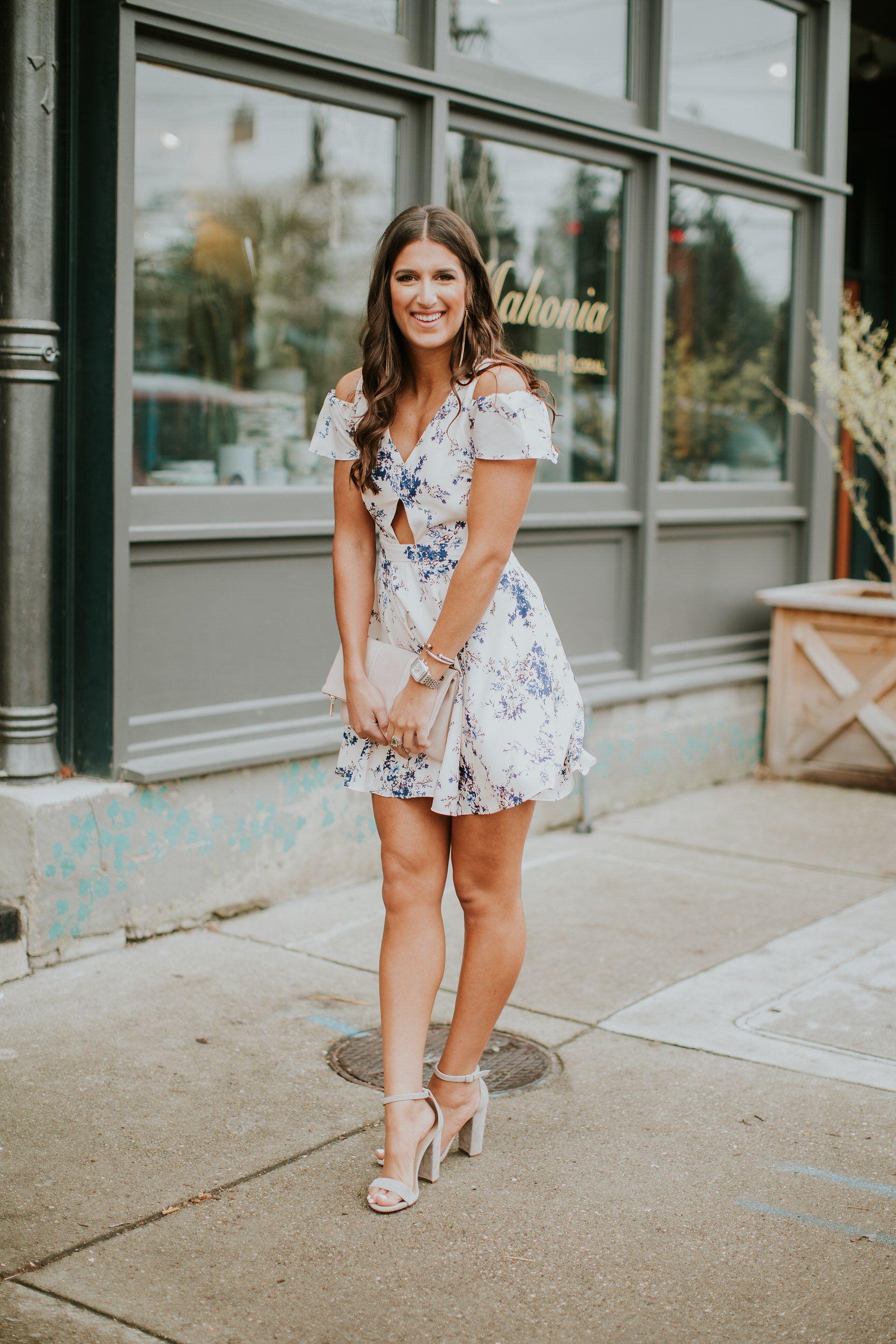 Floral Cold Shoulder Dress A Southern Drawl Wedding Guest Heels Dresses Kentucky Derby Dress [ 2592 x 1728 Pixel ]