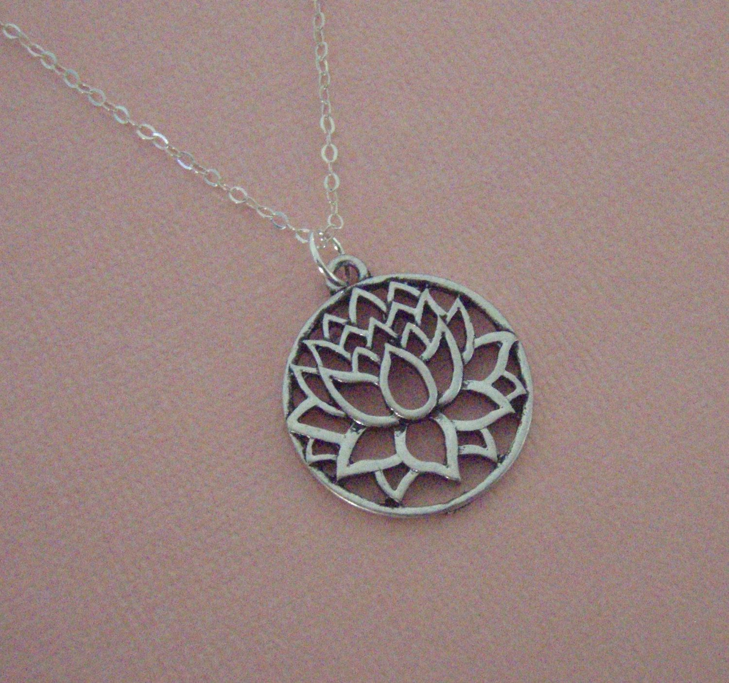 Silver lotus necklace sterling silver chain yoga jewelry silver silver lotus necklace sterling silver chain yoga jewelry silver jewelry filigree lotus izmirmasajfo Images