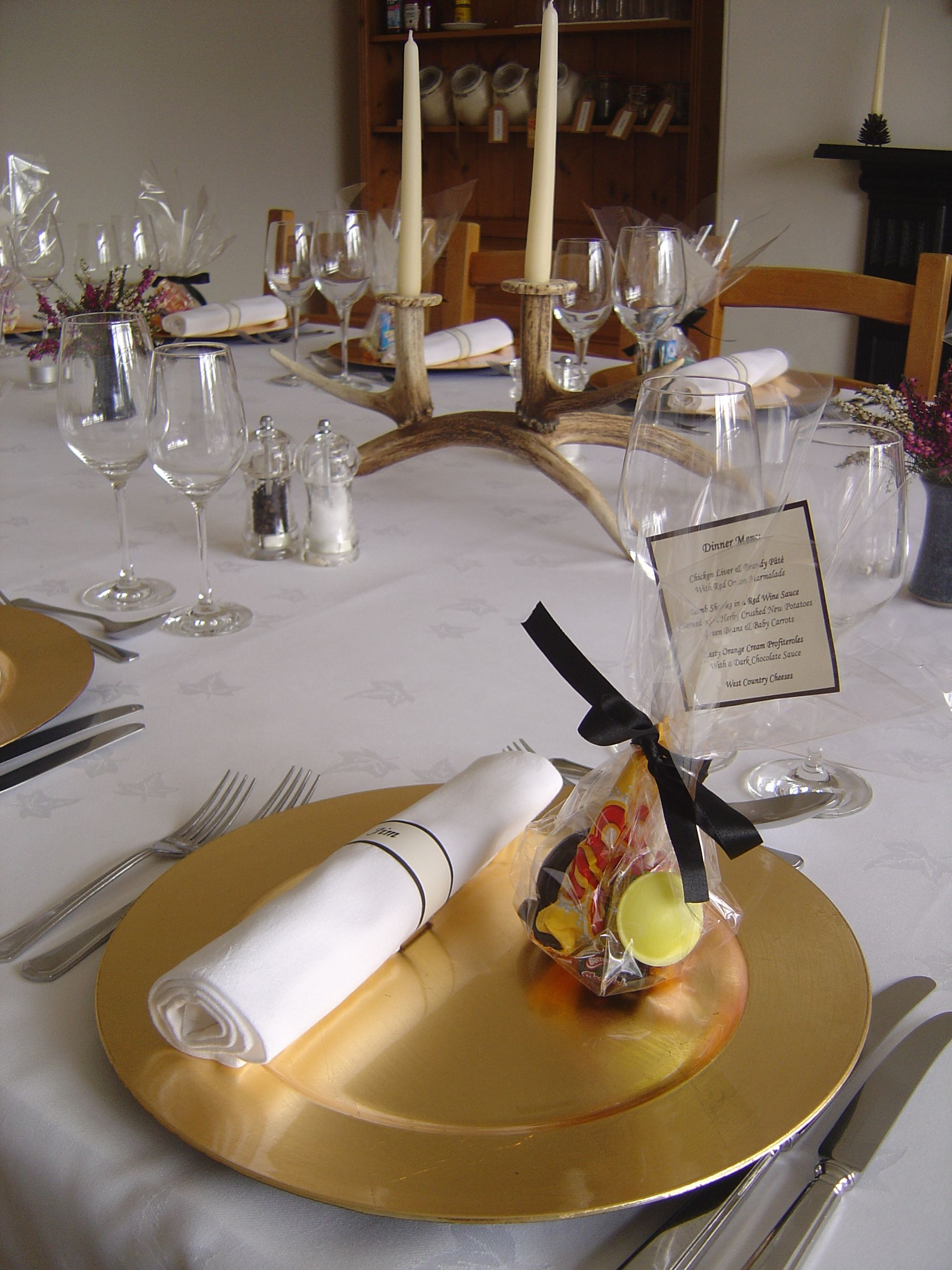 Exclusive use hotel hire 40th birthday house party Table setting