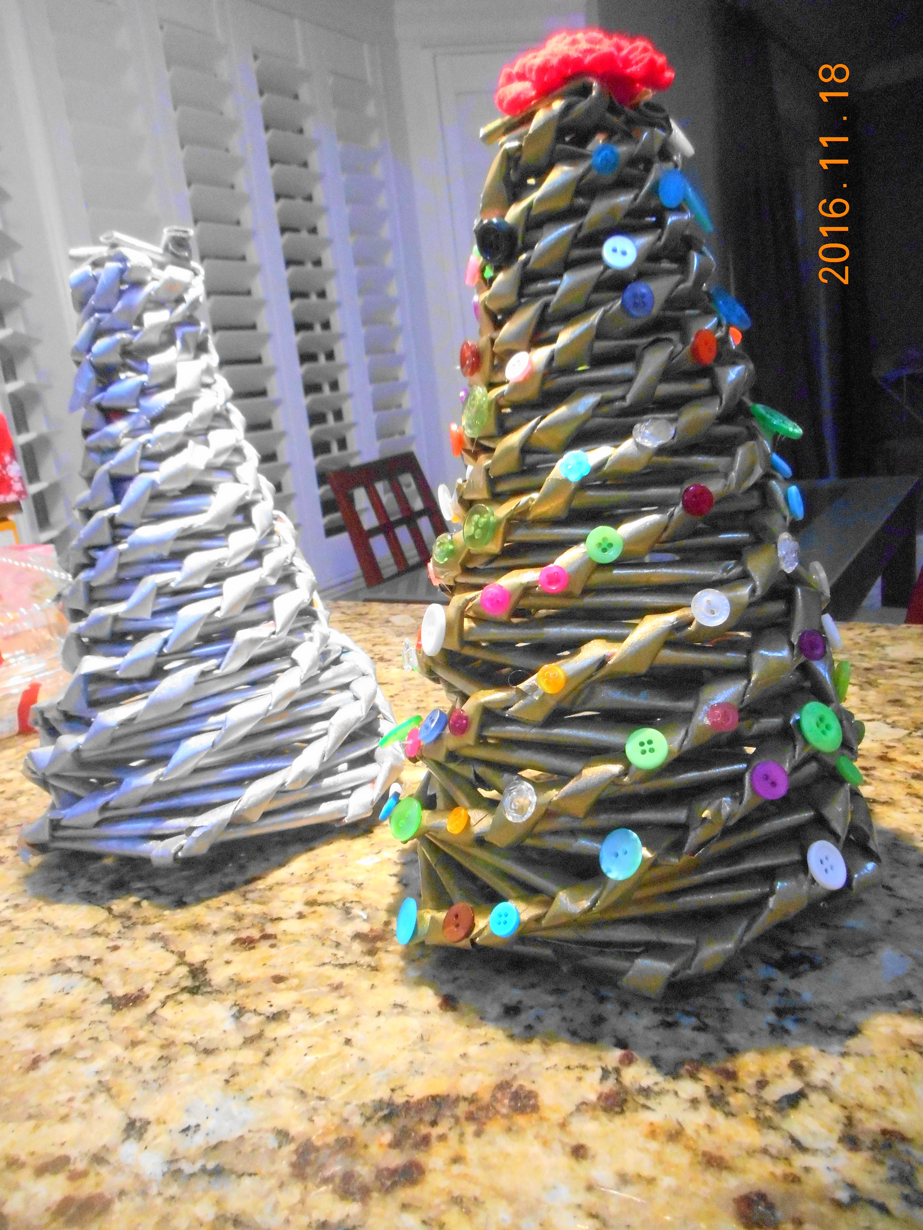 rolled newspaper Christmas tree Christmas Pinterest