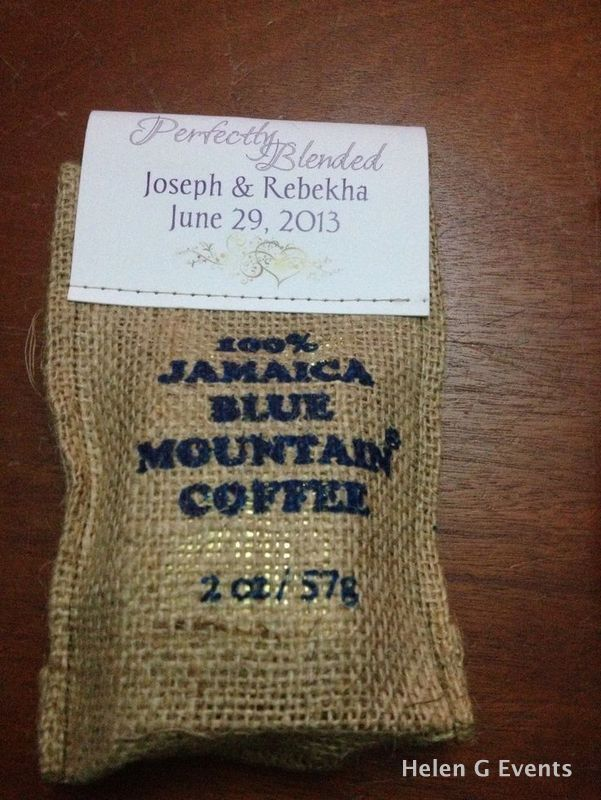 ideas for beach wedding party favors%0A Personalized Jamaican Blue Mountain Coffee in burlap bag for your wedding  favor for your wedding in  Destination