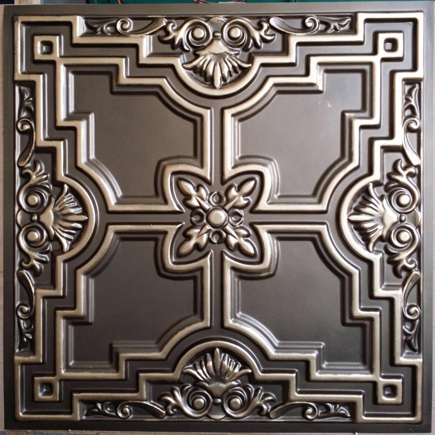 pl16 faux tin classic aged brass 3d emboss ceiling tiles interior