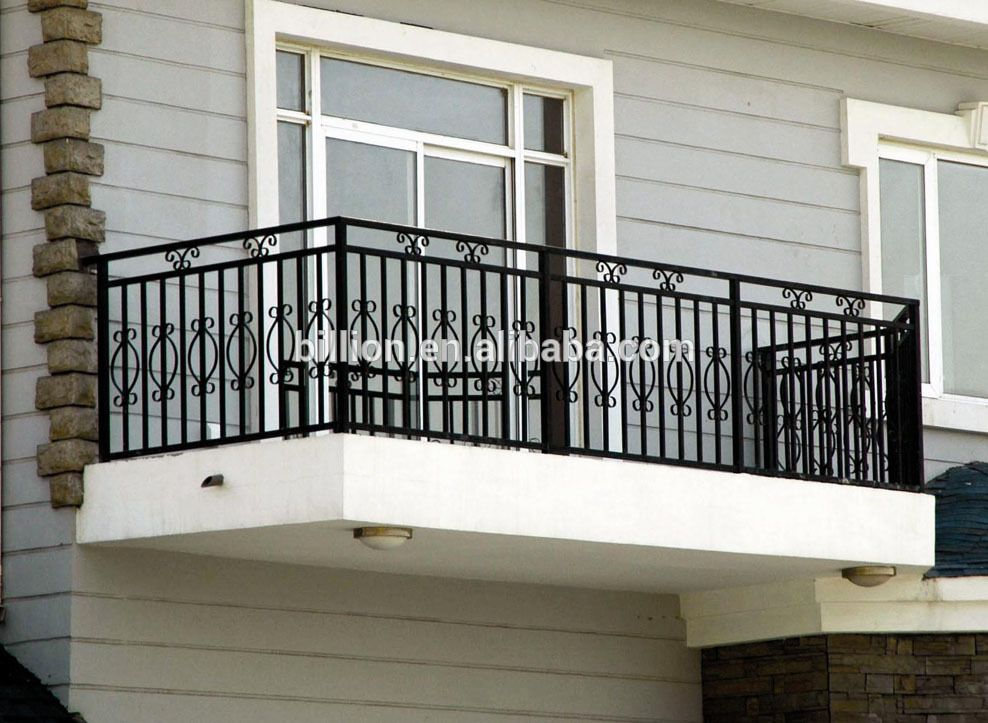 Antique outdoor decorative wrought iron balcony railing for Exterior balcony railing design