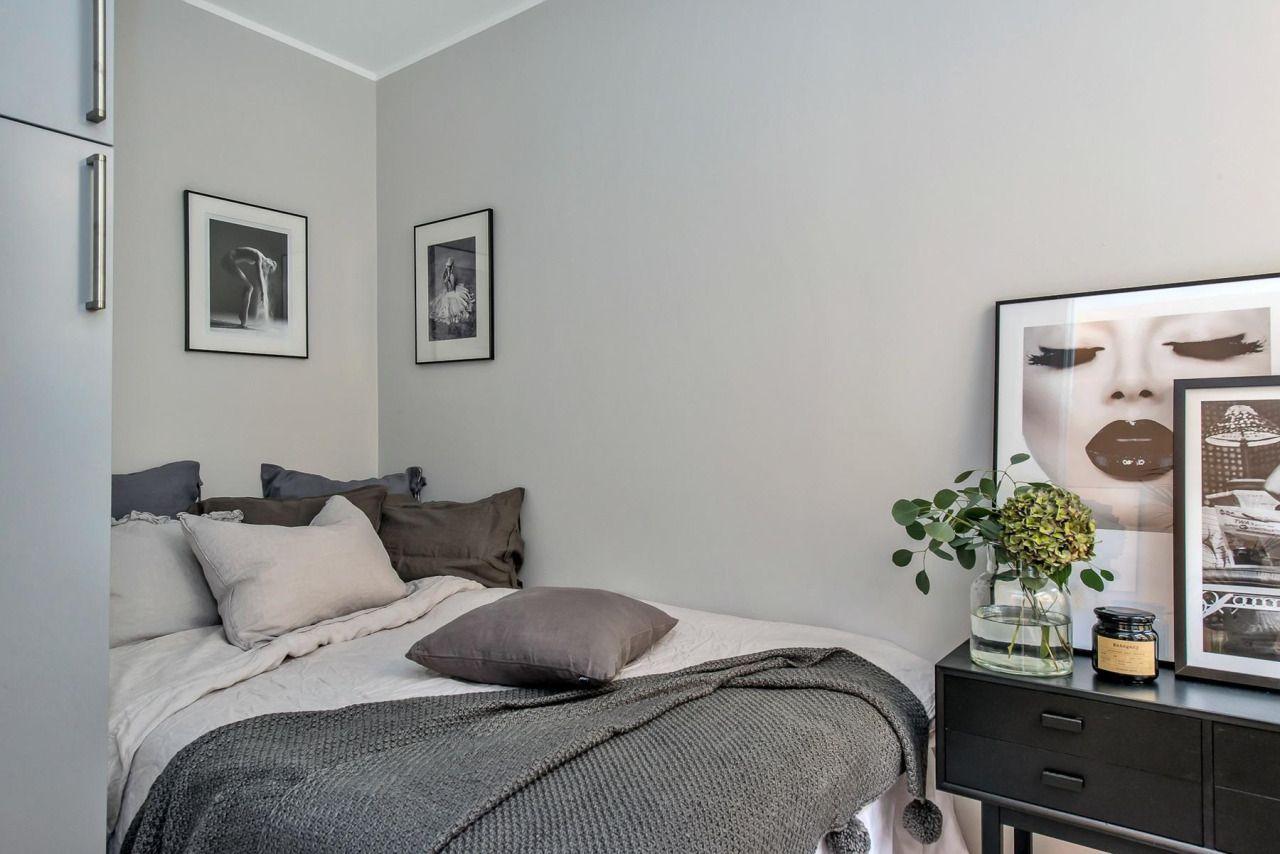 Tiny grey bedroom