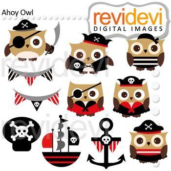Pirate Owl clip art (red, black, brown)   Owl clip art ...