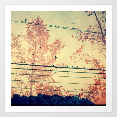 Dreamy bird and tree nature print, whimsical art