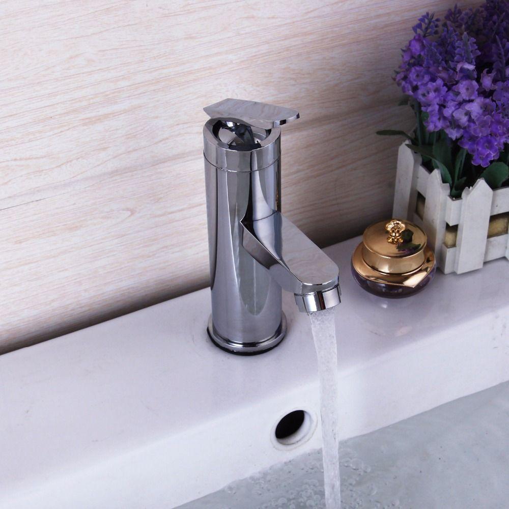 New Bathroom Sink Basin Faucet Deck Mount Bright Chrome Washing