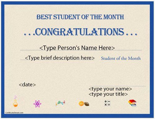 Student Of the Month Certificate Template Luxury Certificate Street Free Award C...