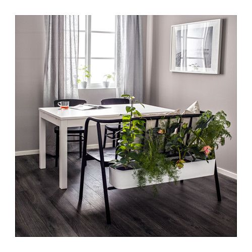 ANVÄNDBAR Armrest bench with planter, black