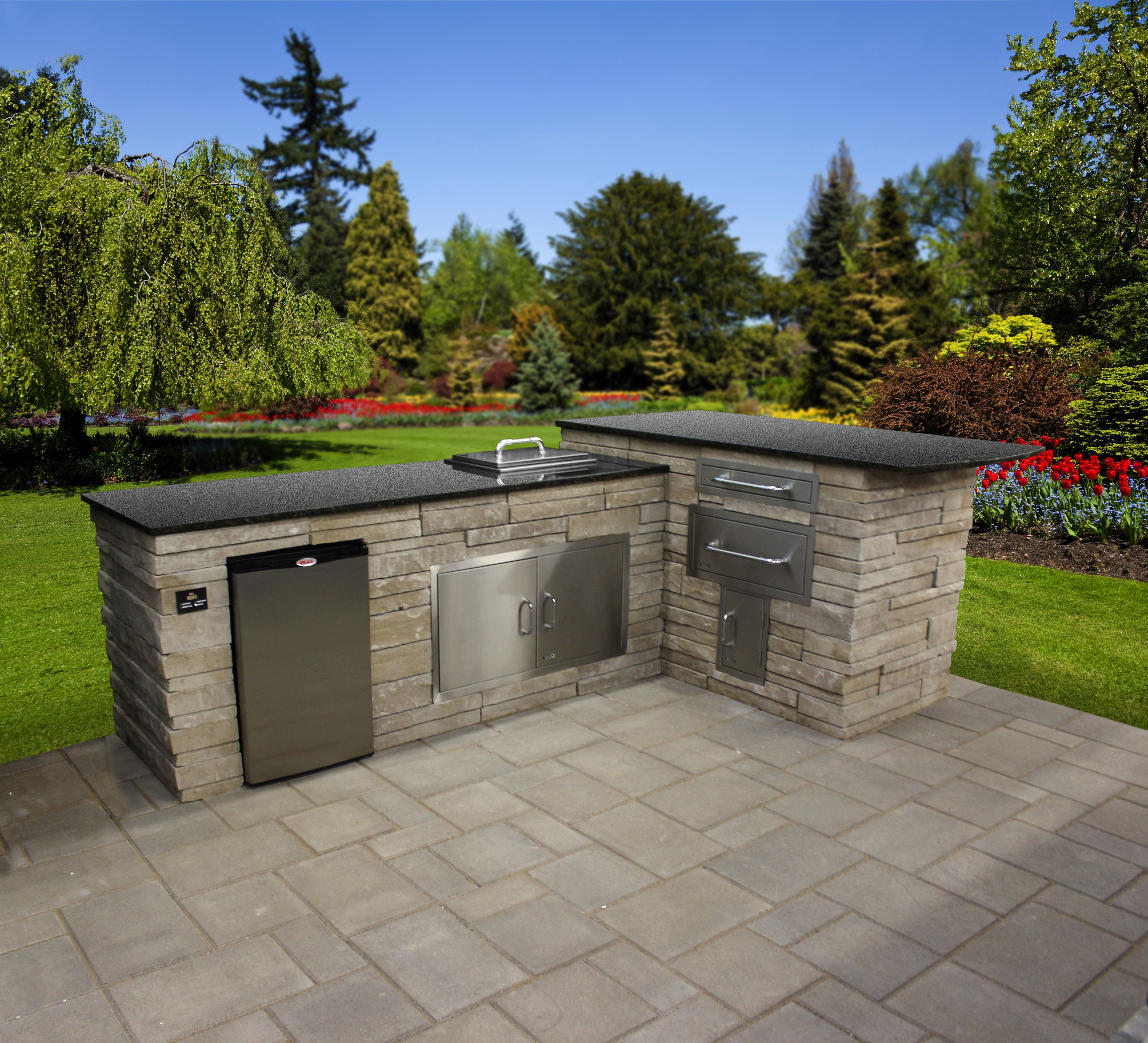L Shaped Outdoor Kitchen Island Without The Grill This Customer Outdoor Island Features P Outdoor Kitchen Island Small Outdoor Kitchens Prefab Outdoor Kitchen