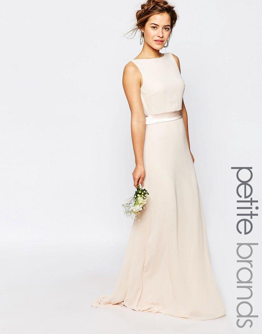 Image 1 of TFNC Petite WEDDING Sateen Bow Back Maxi Dress ...