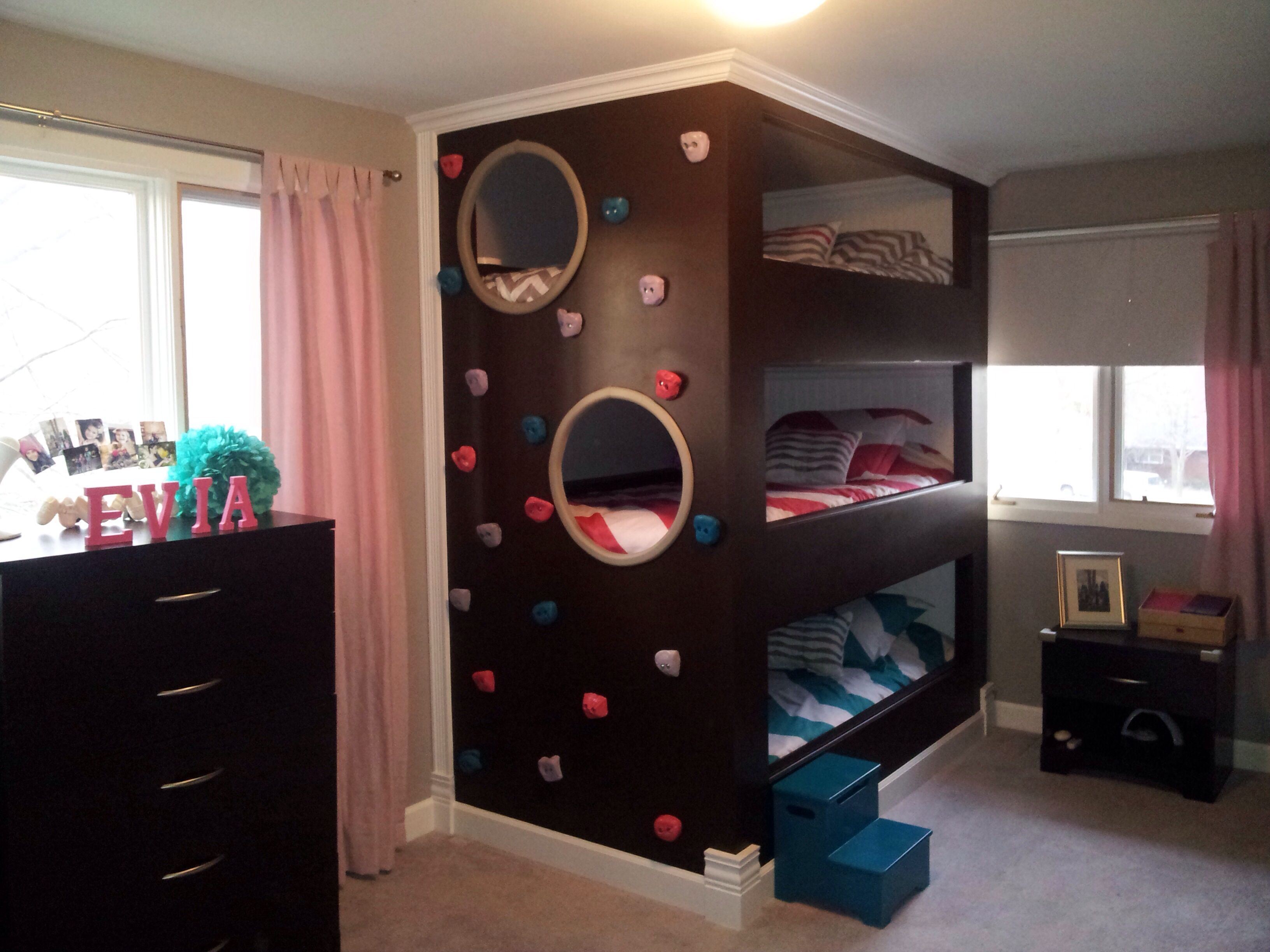 Triple bunk beds home pinterest triple bunk beds for Girls bedroom decorating ideas with bunk beds