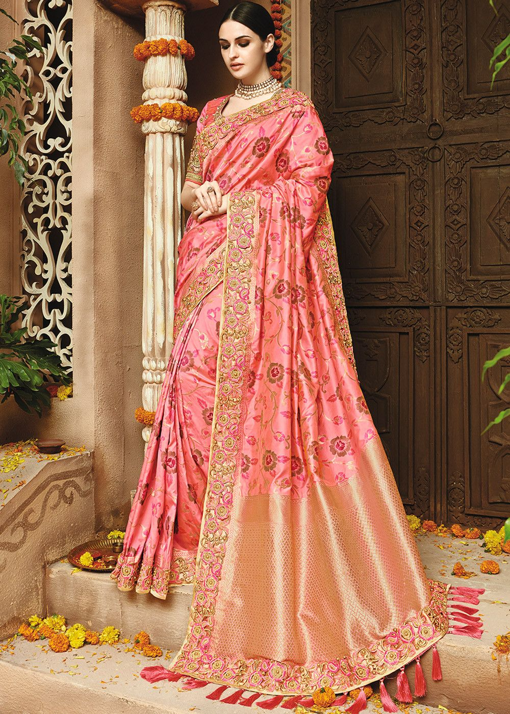 4e415f2256 Light #pink art #silk #saree with all over woven work enhanced by  distinctive #pallu design and #lace border throughout.