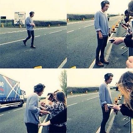 Harry with fans