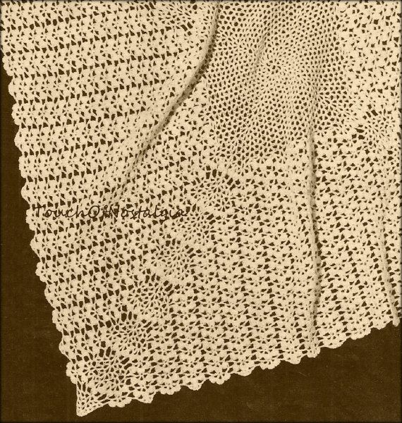 Crochet lacy baby shawl blanket vintage crochet pattern crochet lacy baby shawl blanket vintage crochet pattern beautiful lace baby shawl blanket pretty for special occasion or christening dt1010fo