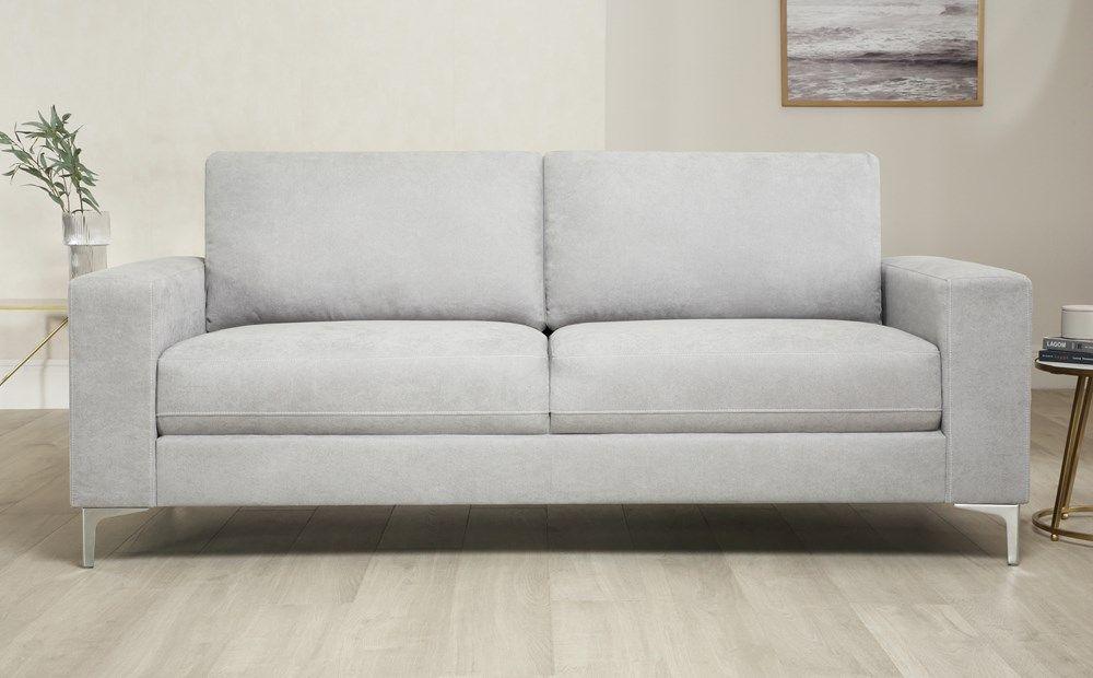 Baltimore Dove Grey Plush Fabric 3 Seater Sofa In 2020 Grey Leather Sofa Sofa Furniture Fabric Dining Chairs