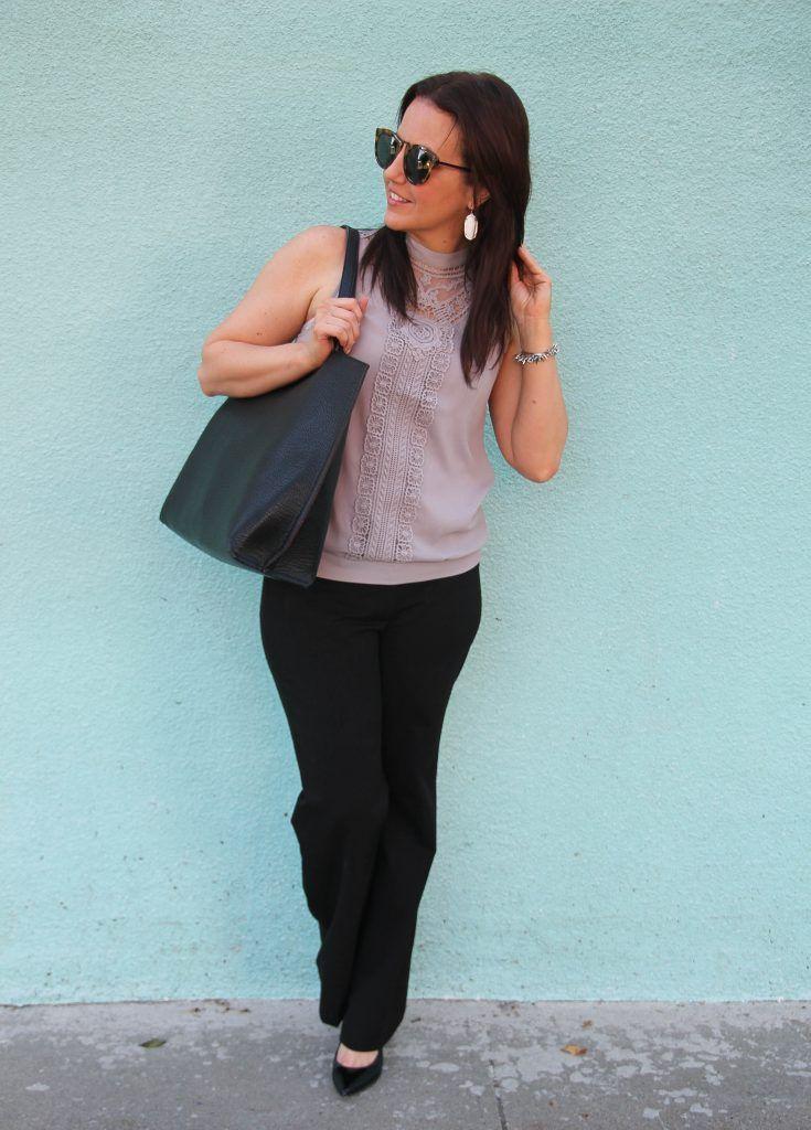 office outfit idea - wide leg work pants