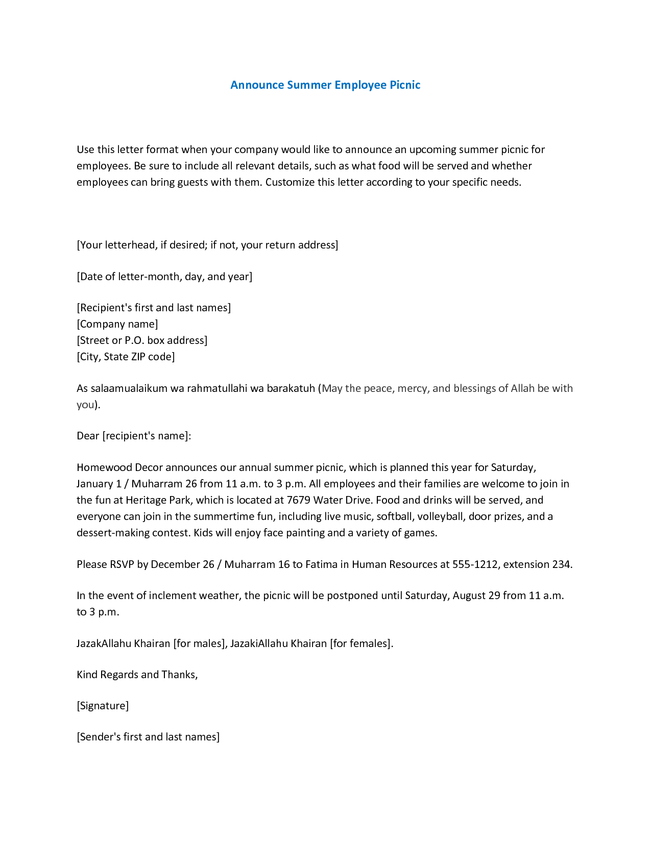 Announce Summer Employee Picnic Use this letter format when your – Resignation Announcement Template