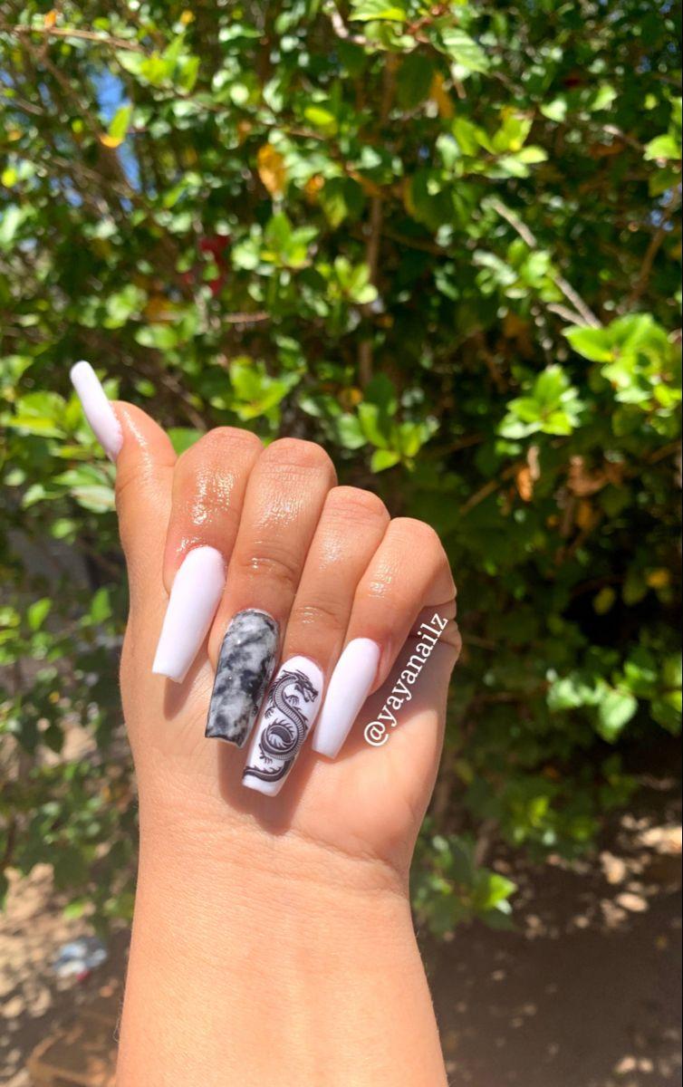 Dragon Nails Dragon Nails Long Acrylic Nails Coffin Edgy Nails Collection by demetria's nail biz. acrylic nails coffin