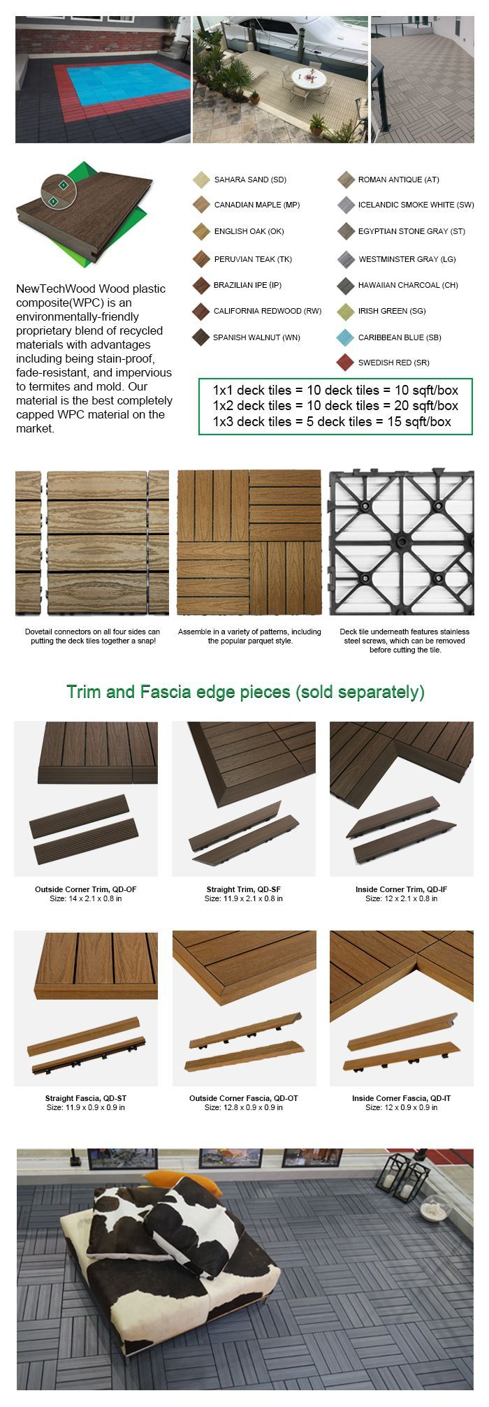 Newtechwood 1 12 Fuss X 1 Fuss Quick Deck Composite Deck Fliese Straight Fascia In Sahara Sand 4 Teilig Box Deck Tile Composite Decking Outdoor Deck Tiles
