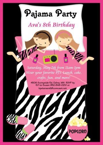 girls slumber party sleepover pj pajama birthday party invitation, Birthday invitations