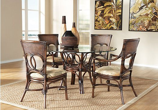 gulf shore rattan 5pc round dining room beach house dining room sets dining room table. Black Bedroom Furniture Sets. Home Design Ideas