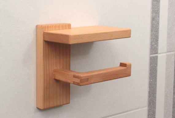 Wood Toilet Paper Holder with Shelf, Beech Toilet Roll Holder, Eco Friendly Bathroom Decor #toiletpaperrolldecor