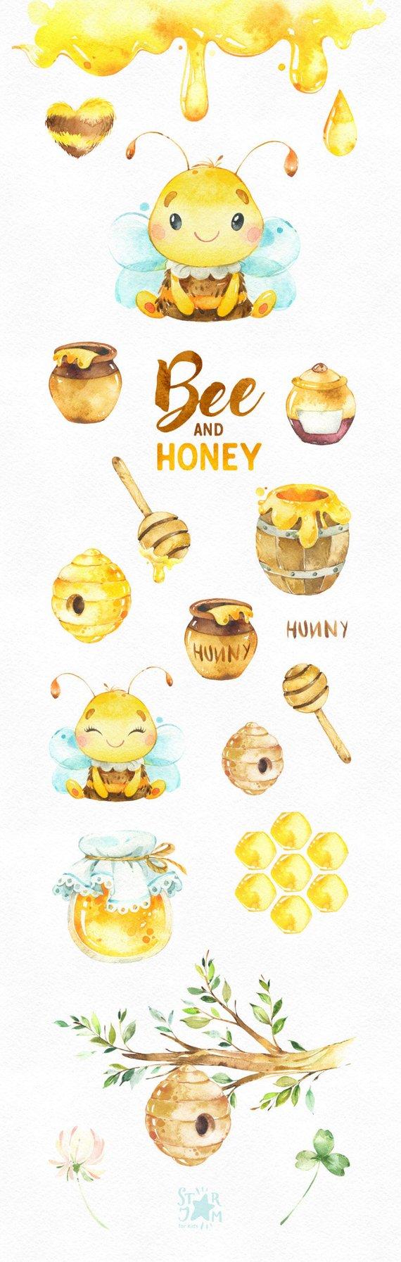 Photo of Ape e miele. Clipart dell'acquerello, corona, vaso di miele, nido d'ape, alveare, scuola materna, natura, baby shower, calabrone, biglietto di auguri, bambino, bambini