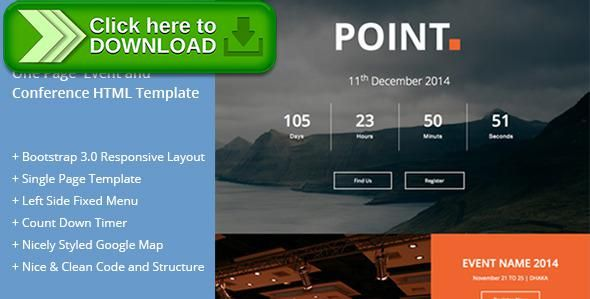 Free Nulled Point  One Page Event And Conference Template Download