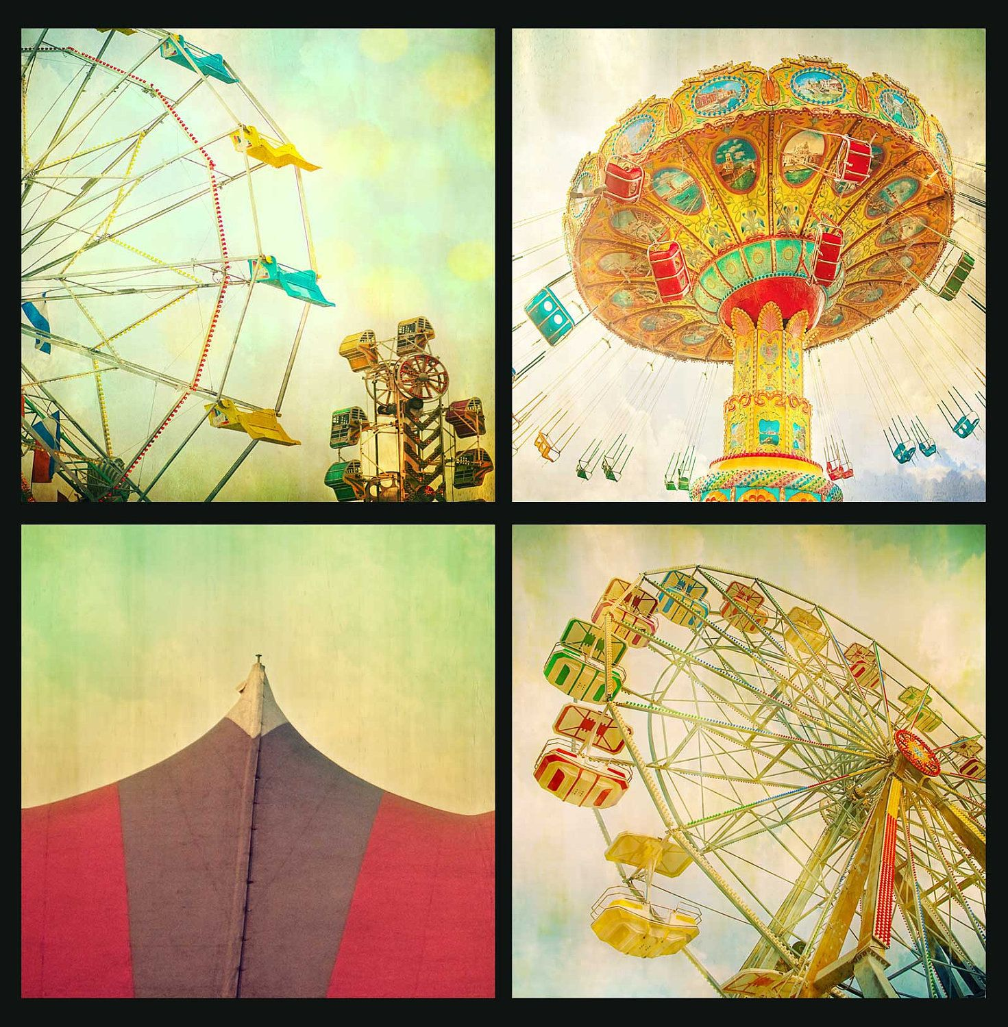 Carnival theme nursery wall art circus photos baby\'s room shabby ...