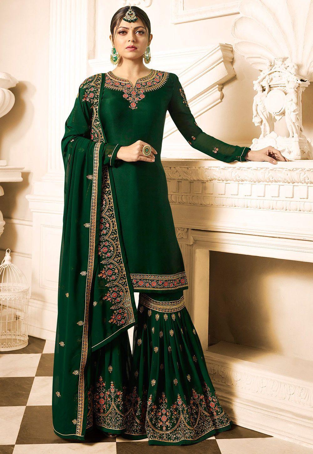 77c39add7e Embroidered Satin Georgette Pakistani Suit in Dark Green : KCH2270 ...