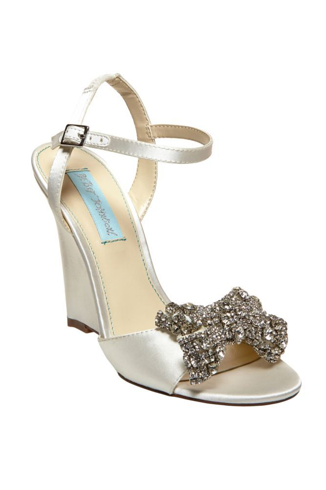 acb7d79e8b5e Satin Blue by Betsey Johnson Wedge Wedding   Bridesmaid Sandal with Bow -  Ivory