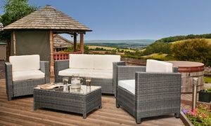 Groupon Tuscany Four Seat Rattan Lounge Set With Optional Cover And Free Delivery Groupon Deal Price 299 99 Rattan Garden Furniture Rattan Garden Furniture Sets Rattan Effect Garden Furniture