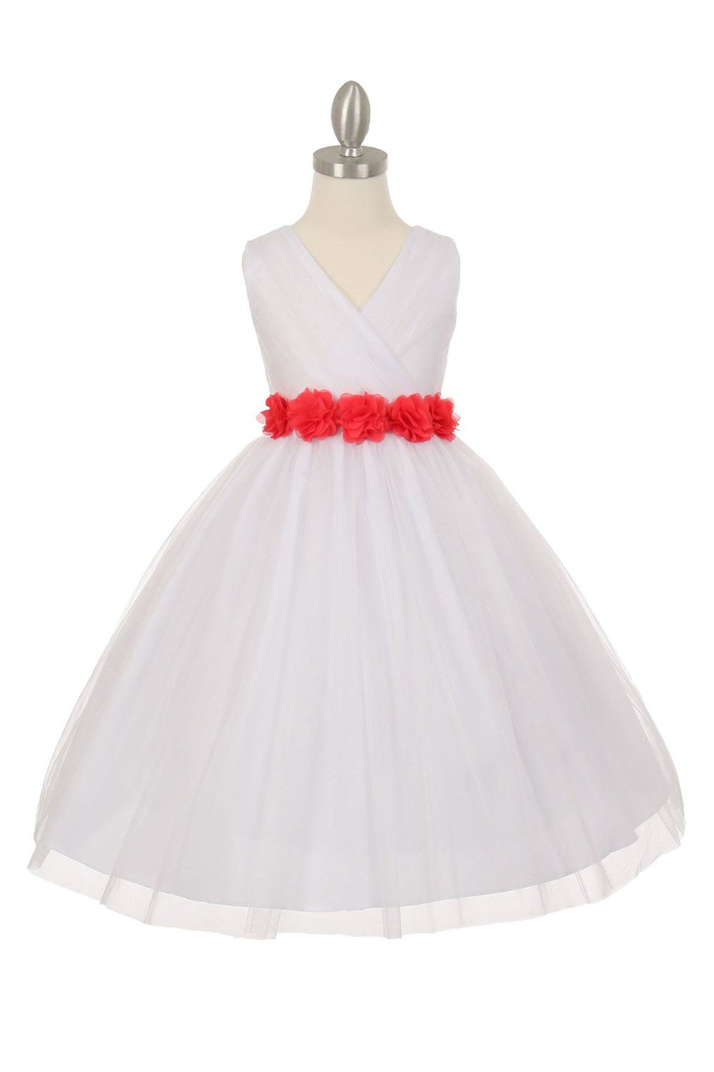 Whitecoral Tulle V Neck With Removable Floral Sash Flower Girl