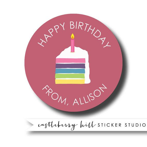 Personalized birthday sticker birthday cake gift sticker kids gift labels personalized kids gift