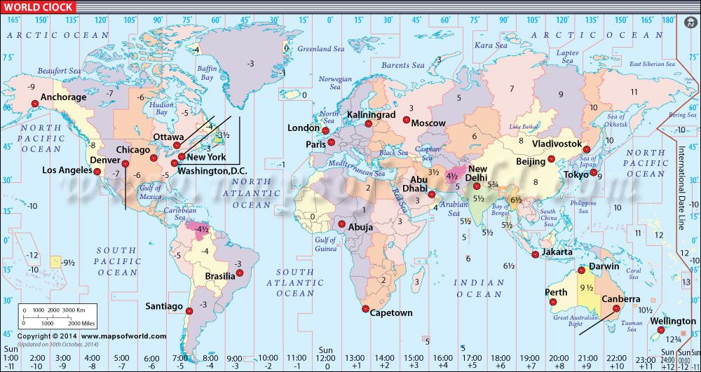 World Clock Map | World Maps in 2019 | International time zone map ...