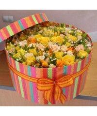 Цветы в коробочке Бантик (20589)