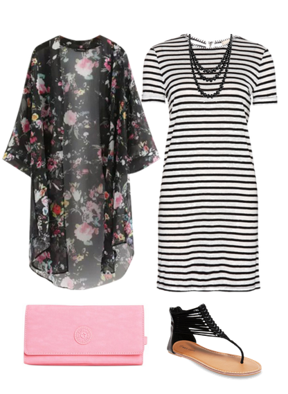 227099f8c1 Outfits for women -- Cute Outfit Ideas of the Week featuring the kimono.  Pair a floral kimono with a striped dress for a fun look.