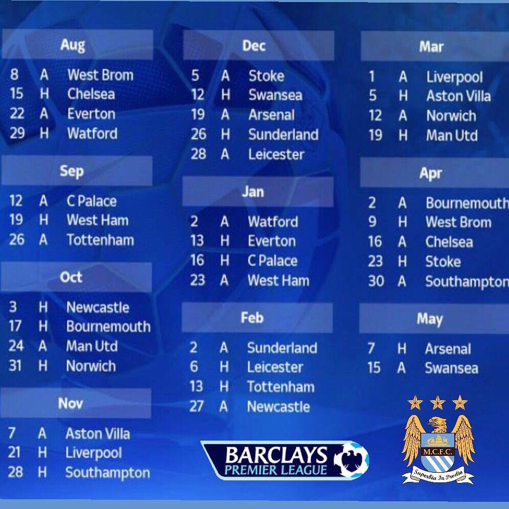 Manchester City 2015-16 Fixture List #mcfc #manchester