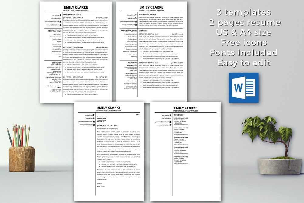 Modern Resume Template Instant Download     Pages Cv Template