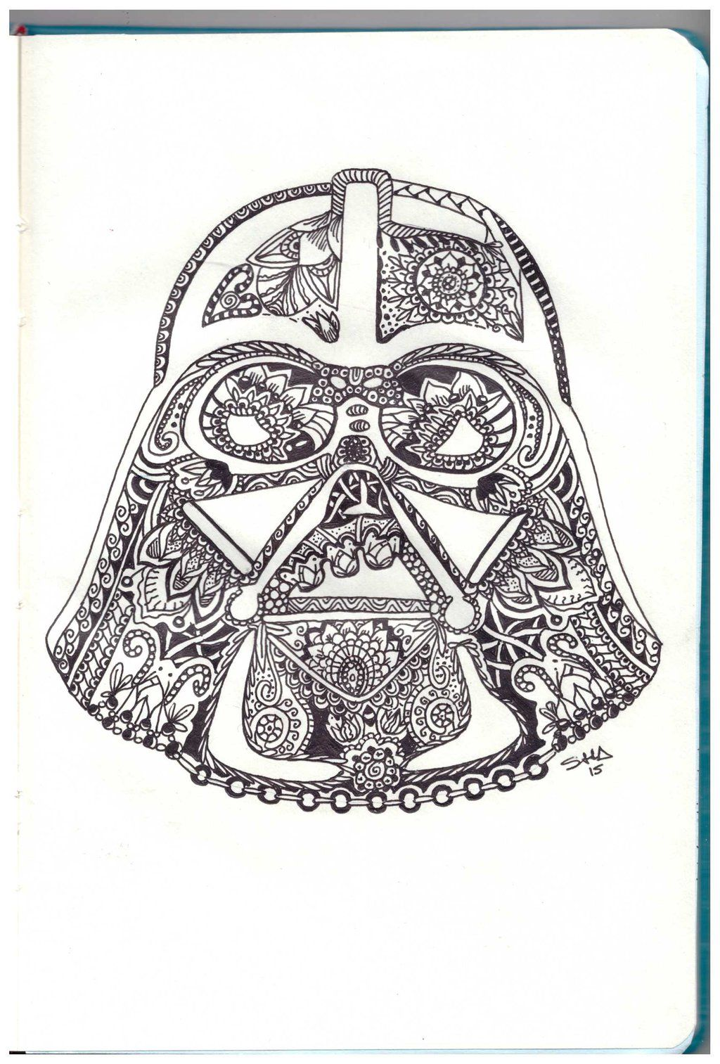 Darth Vader Helmet Zentangle By Sushann