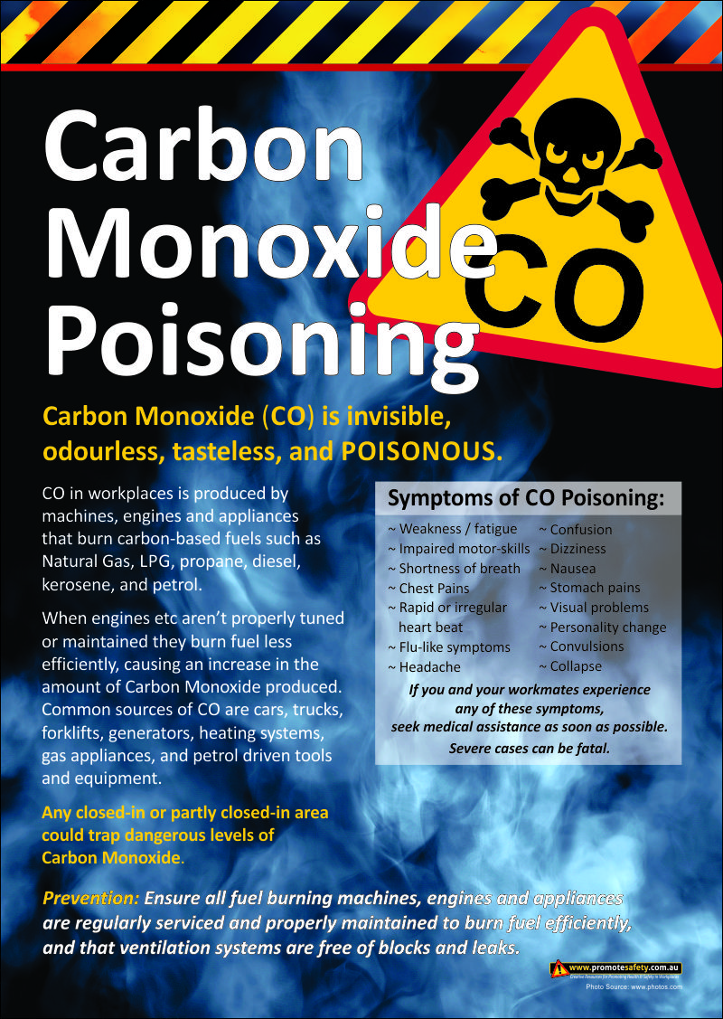 Carbon Monoxide Poisoning Risks in workplaces. Health