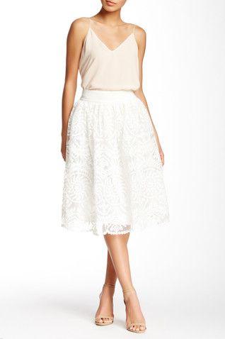 Embroidered Mesh Linen Blend Contrast Skirt